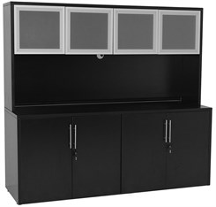 Black Storage Credenza w/Glass Door Hutch