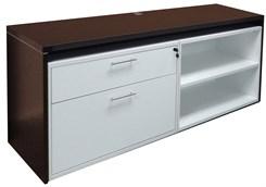 """71"""" Credenza w/ White Box/Lateral File & Open Cabinet"""