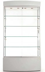 Curved Base Display Cabinet w/Casters w/ Micro Halogen Spotlights