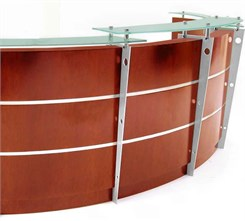 12' Curved Cherry Glass Top Reception Desk