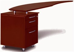Curved Desk Left Return w/Pencil-Box-File Pedestal