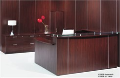 Multi-Level Glass Top U-Reception Desk w/Right Side Low Counter