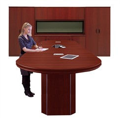 Custom Standing Height Conference Tables with Pedestal Bases