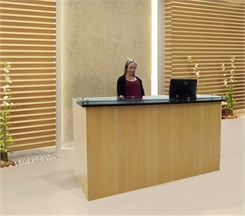 Custom Standing Height Glass Top Reception Desks - 6'W Custom Standing Height Glass Top Reception Desk