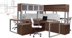 TrendSpaces Deluxe Open Office 4-Workstation Cluster