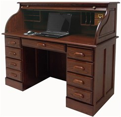 Deluxe Solid Oak Roll Top Desk w/Laptop Clearance