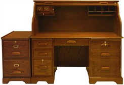 Oak Roll Top Desk & File Cabinet Package