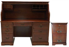 Cherry Roll Top Desk & File Cabinet Package