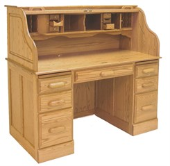 "54""W Deluxe Solid Oak Roll Top Desk"