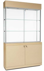 Display Case with Locking Storage Base