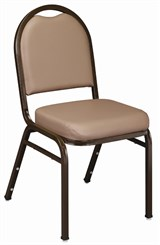 Dome Back Stack Chair in French Beige Vinyl