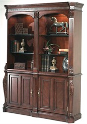 Double Bookcase w/Cabinets
