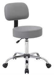 "Vinyl Doctor's Stool w/Backrest & 21""-27"" Height"