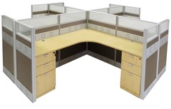 "12'W x 12'D x 48""H Premium Series Complete 4-Person Cluster Office Cubicle w/Files"