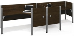 Enclosed Double Side-by-Side L-Shaped Workstation