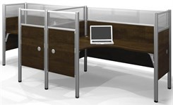 Enclosed Double Side-by-Side L-Shaped Workstation w/ Acrylic Glass