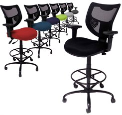 "Heavy Duty 400 lb. Capacity Mesh Back Drafting Stool  - 26""-29"" or 29""-32"" Seat Height"