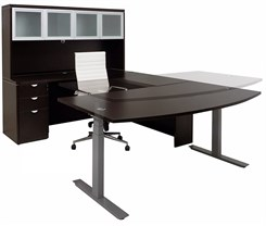 Electric Lift Adjustable Height Mocha U-Desk w/Hutch