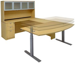Electric Lift U-Shaped Maple Workstation w/Hutch