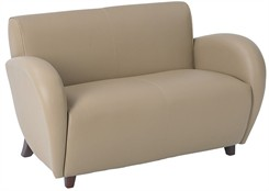 Office Star Eleganza-Taupe Eco Leather Love Seat