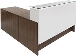 "Emerge Glass Top L-Shaped Reception Desk w/Drawers & LED Light - 66""W x 79""D"