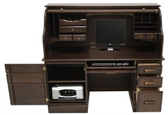 Solid Oak Rolltop Computer Desk in Espresso Finish - IN STOCK!
