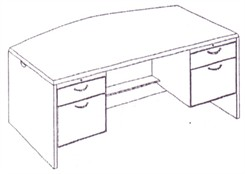 Executive Desk w/Bow Front & Box/File  Drawer Pedestals