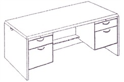 Executive Desk with Box/File Drawer Pedestals