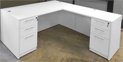 White L-Shaped Rectangular Executive Desk w/6 Drawers