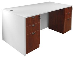 White & Woodgrain Rectangular Executive Desk w/6 Drawers