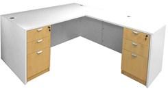 White & Woodgrain L-Shaped Rectangular Executive Desk w/6 Drawers