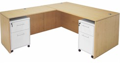 Maple Executive L-Desk w/Desk Height Return