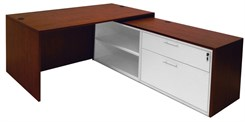 Cherry Executive L-Desk w/Slide Out Return