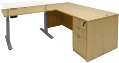 Executive L-Desk w/Electric Lift Height Adjustable Return