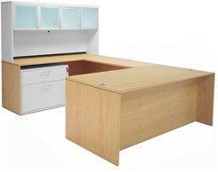 Maple Executive U-Desk w/Glass Door Hutch