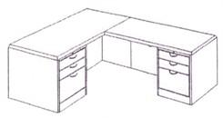 Executive L-Desk w/Box/Box/File Drawer Pedestals