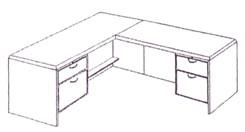 Executive L-Desk w/Box/File Drawer Pedestals