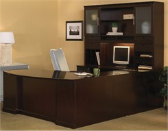 "Executive ""U"" Bow Front Desk w/ Hutch - Right Bridge - PBF/PBF"