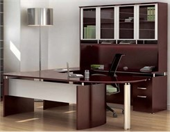 Executive U-Workstation w/ Hutch - Right Bridge