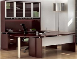 Executive U-Workstation w/ Hutch - Left Bridge