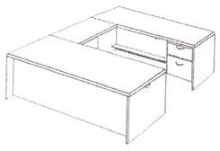 Executive U-Desk with Box/File Drawer Pedestals