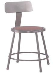 "Fixed Height Heavy-Duty Lab and Shop Stools with Backrest - 18"" Lab Stool"