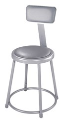 "Fixed Height Heavy-Duty Padded Lab Stools w/Backrest - 18""H Lab Stool"