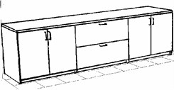 Four Hinged Door/Two Drawer Lateral File Credenza