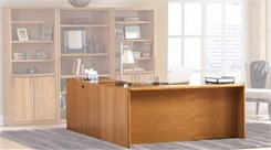 Genuine Oak Office Furniture Series - Oak Executive L-desk with Right Return