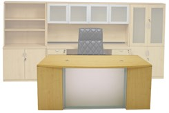 Glass Front Maple Conference Desk