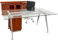 Glass Table Desk, Credenza & Mobile File Furniture Package