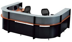U-Shaped 2-Person Glass Top Reception Desk