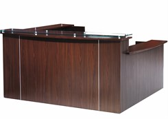 Multi-Level Glass Top U-Reception Desk w/Left Side Low Counter