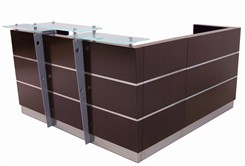 Glasstop Walnut Reception L-Desk